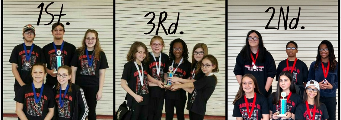 Elementary team won 3 rd place  Middle level team won 2 nd place  High school team Won 1st place and is moving on to the State competition!!!