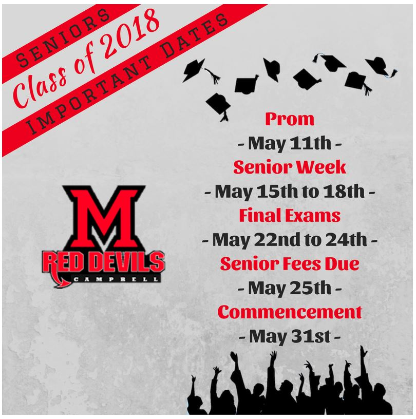 Seniors 2018 - Important Dates