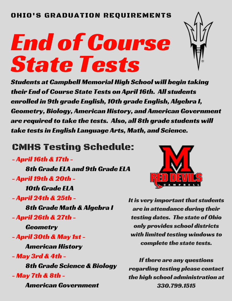 State of Ohio End-of-course Testing - Campbell City Schools